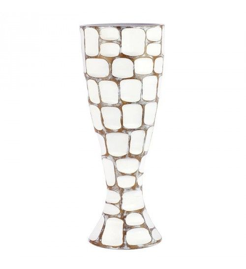 POLYRESIN VASE IN WHITE_BROWN 20X20X50