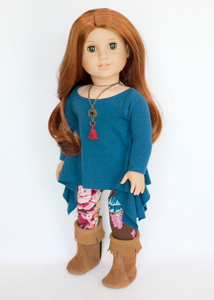 American Girl Doll outfit blue twirly tunic, floral leggings, and boots by EverydayDollwear on Etsy