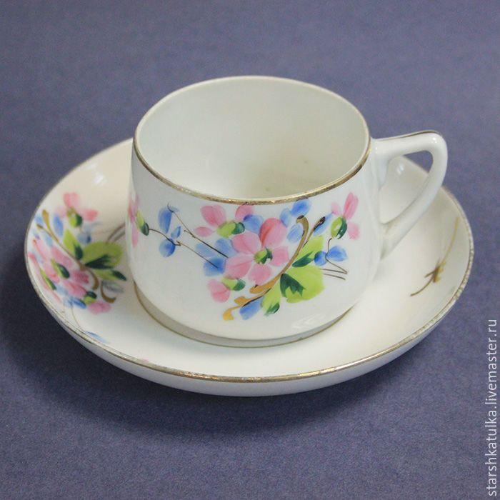 Купить Старинная чайная пара. Фарфор. - комбинированный, фарфор, фарфоровая посуда, чайная пара, гарднер