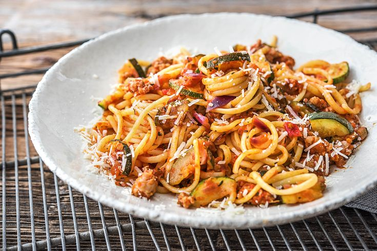 Tuscan Sausage Linguine with Zucchini, Chilies and Parmesan