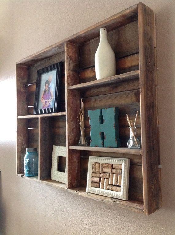 Reclaimed wood wall shelf large by DelHutsonDesigns on Etsy, $99.00