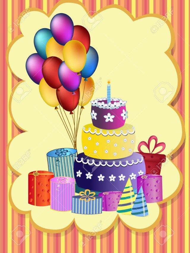 30 Great Image Of Happy Birthday Cake And Balloons Balloon Present Illustration Royalty Free