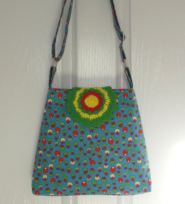Blue Tomatoes Sling/Messenger/Shoulder Bag with Crochet Flap - by OneBusySloth on madeit