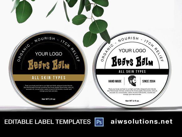 Round Tin Labels Bath And Body Label Template Design