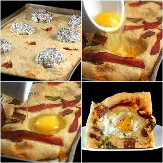 Bacon, Cheddar and 'Eggs in Wells' Flatbread