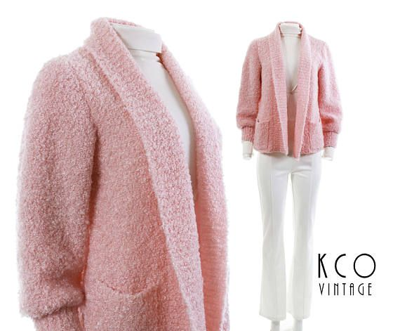 80s pastel pink cardigan sweater. ▪ ▪ ▪ ▪ ▪ ▪ ▪ ▪ ▪ ▪ ▪ ▪ ▪ ▪ ▪ • Brand: X • Material: STRETCHY ACRYLIC • Made in X • Original label size: X • RECOMMENDED SIZE: SMALL  All clothing fits differently, so please follow the measurements below. I list the original size on the label when
