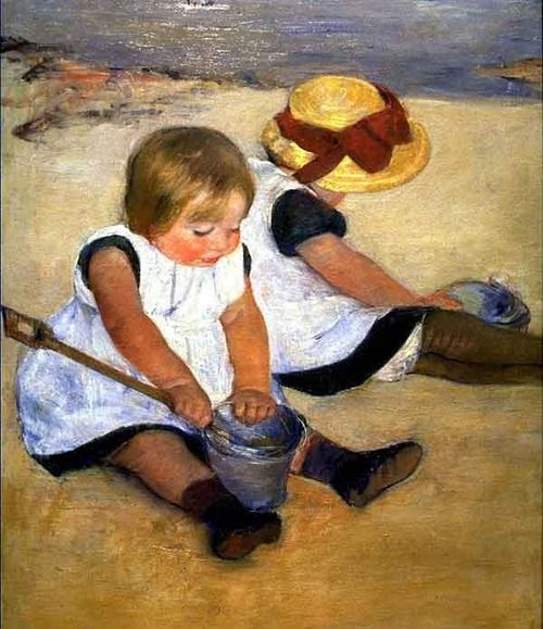 Children Playing on the Beach by Mary Cassatt 1884