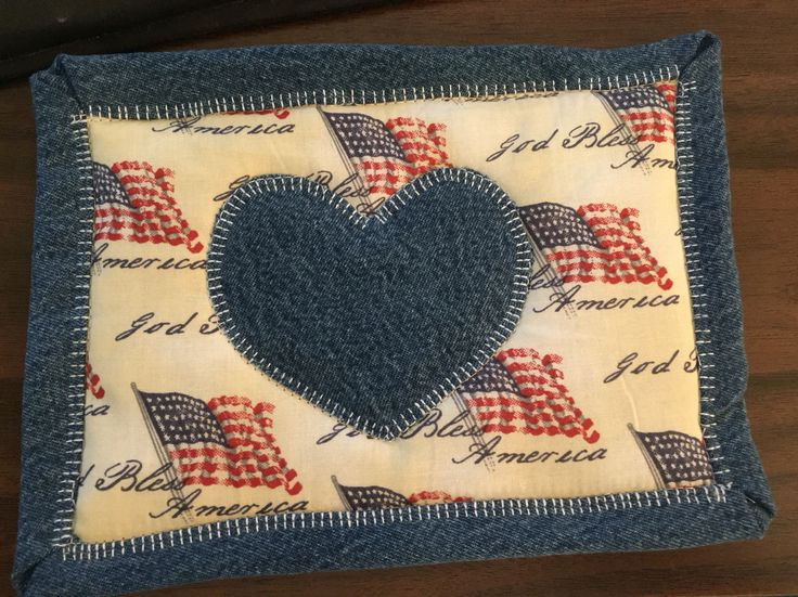 Mug Rug made from God Bless America fabric and recycled denim jeans.