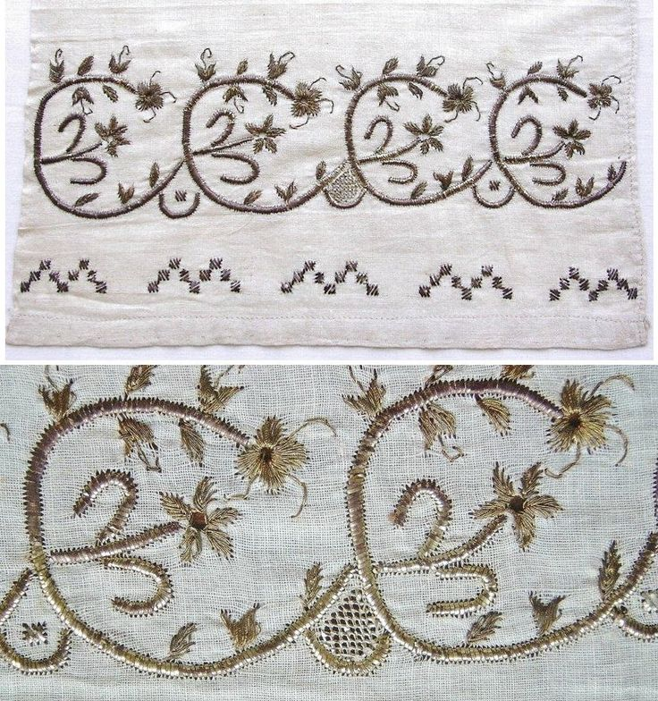 One end (+ close-up) of an 'uçkur' (woman's sash / waist band) with embroidered ends.  Crimean Tatar, from Turkey, ca. 1900.  Linen, 26 x 198 cm.  An unconventional motif of a simple flower on a stem, circled by the stem of another simple flower and leaves; motif repeated four times along the width of cloth.  Height of the embroidery (from the tip of twigs to edge of cloth: 15 cm.  (The Asiye-Zeynep Collection, Washington DC).  Technical details: entirely worked in golden thread and strips…