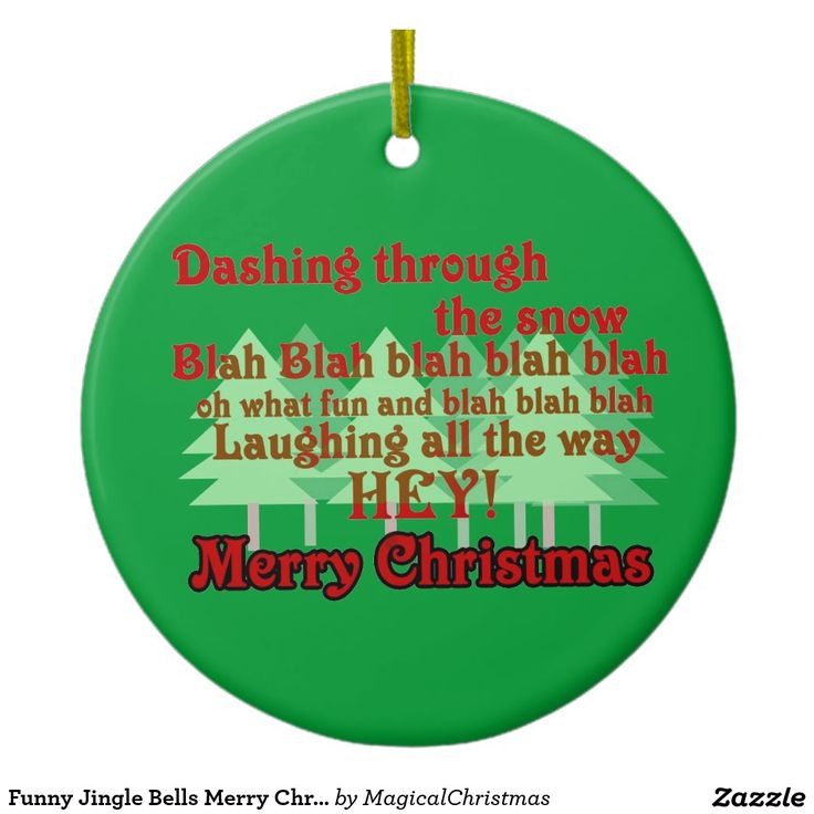Funny Jingle Bells Merry Christmas Ornament Green
