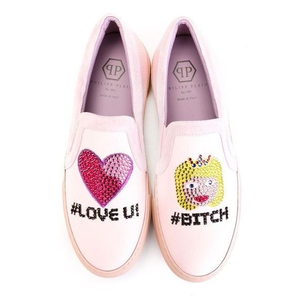 Philipp Plein Love You Sneakers ($347) ❤ liked on Polyvore featuring shoes, sneakers, pull-on sneakers, slip-on shoes, rose pink shoes, pink shoes and leather slip on shoes