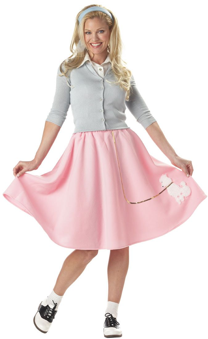Pink Poodle Skirt 50's Adult Costume - Fifties Costumes