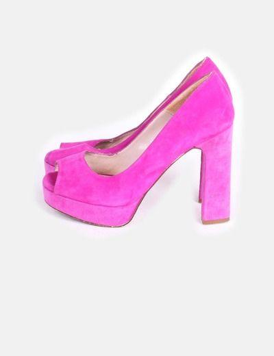 Zapato rosa malva peep toe con tacón grueso Gloria Ortiz