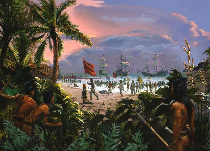 Una de las fechas más importantes en la Historia, 12 de Octubre de 1492, Colón y sus hombres desembarcan en el Nuevo Mundo. Cortesía de Jim Carson. http://www.elgrancapitan.org/foro/viewtopic.php?f=21&p=883158#p882989