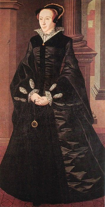 Mary I by William Scrots, c.1550. (Captain R. E. Huddleston) -- This doesn't look like Mary. Although the subject is sombre and she always looked somber in portraits, understandably. She had a horrid father who kept her separated from her beloved mother,and an indifferent husband.