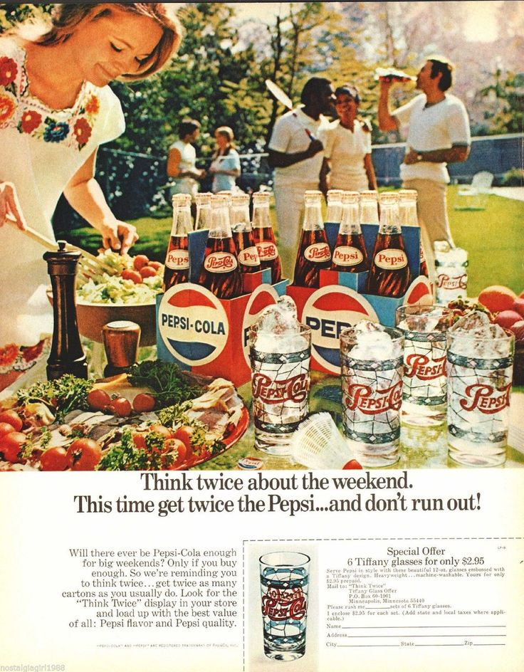 Think twice about the weekend. Pepsi, 1970.
