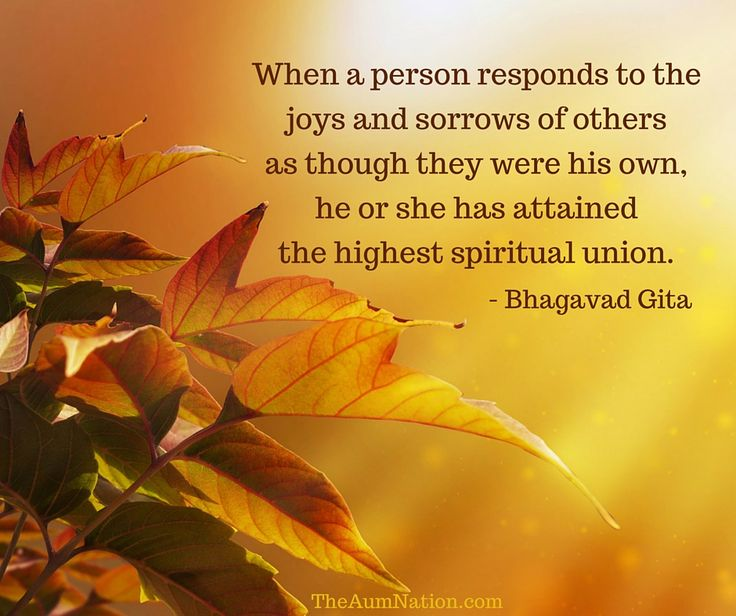 When a person responds to the joys and sorrows of others as though they were his own, he or she has attained the highest spiritual union. - Bhagavad Gita