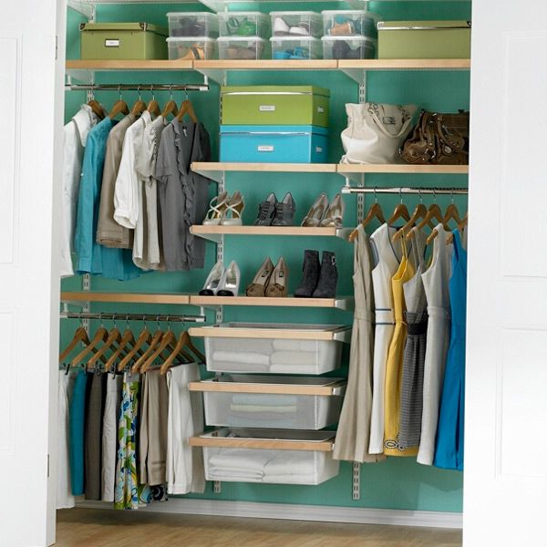 Birch & White elfa décor Chic Reach-In Closet.  I like the colors here...the light wood and the turquoise wall behind it.  Needs the shoe rack though.
