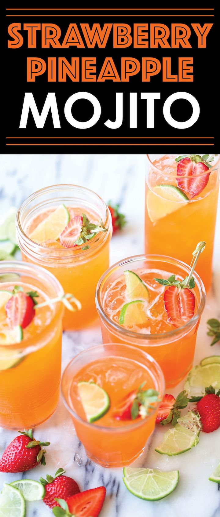 Strawberry Pineapple Mojito - A fun, sweet tropical twist to everyone's favorite cocktail! And you can easily transform this to a non-alcoholic drink!