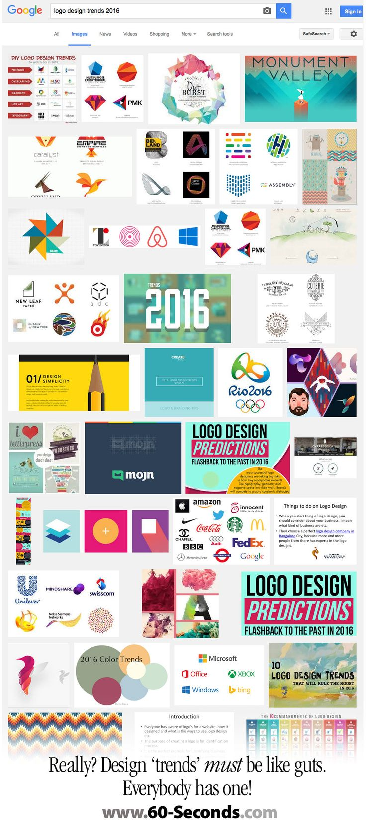 """Logo Design Trends for 2016 ... who picks them? I found a """"Logo Design Trends for 2016"""" post on LinkedIN, but it looked a little fishy. So I followed . . . now I'm really puzzled . . . who sets these trends and why?   This issue of 60-Second Windows sheds light on the logo trends game.   #60-Seconds #60seconds #60secondwindow #showker #logodesign #logodesigns #designtrends"""