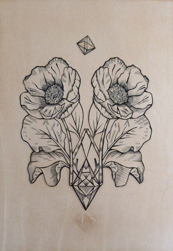 """Geometric Poppy."" Punctured Artefact. Tattooed leather, edition of 15.I love the neutral. but not the symmetry?"