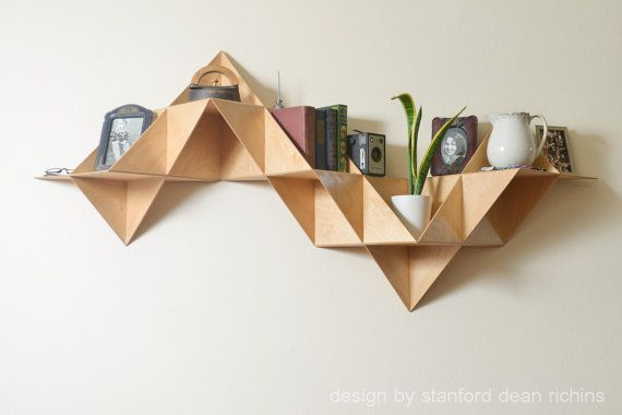 Danish modern inspired modular triangular birch wood wall mounted shelf display keepsakes - Triangular bookshelf ...