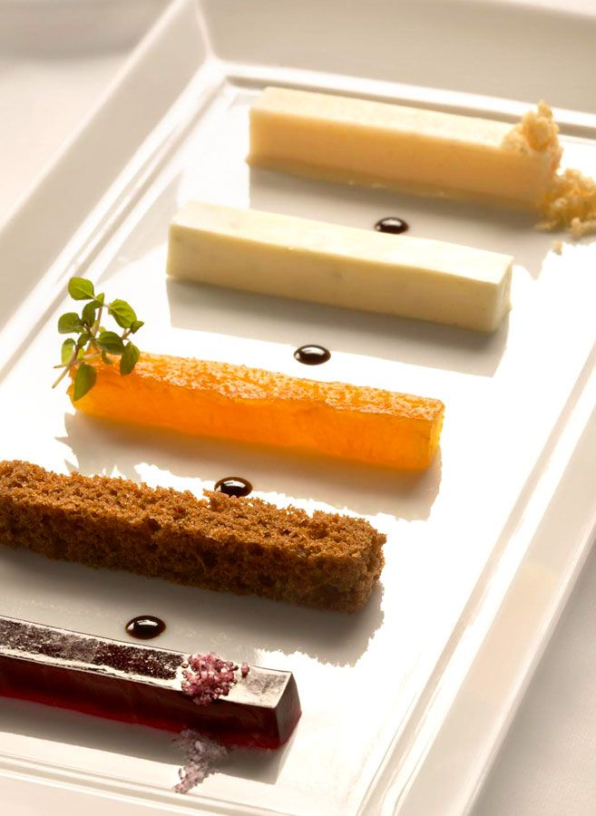 Cake Tasting Plate by Per Se Restaurant // would be fun to skip the traditional cake and just serve these instead