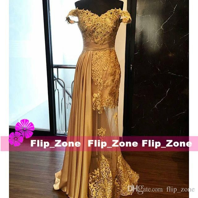 Sexy See Through 2016 Zuhair Murad Arabic Gold Evening Dresses With Off Shoulder Lace 2015 Plus Size Asymmetrical Mermaid Party Formal Gowns Online Dress Shop Online Women Clothing From Flip_zone, $110.65| Dhgate.Com
