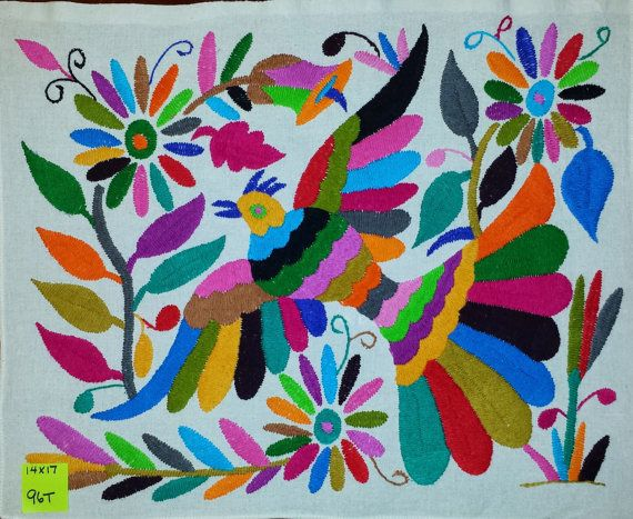 "Hand Embroidered Mexican Otomi Tenango Fabric Folk Art approx. Multi-color 14"" X 17"" #96T"