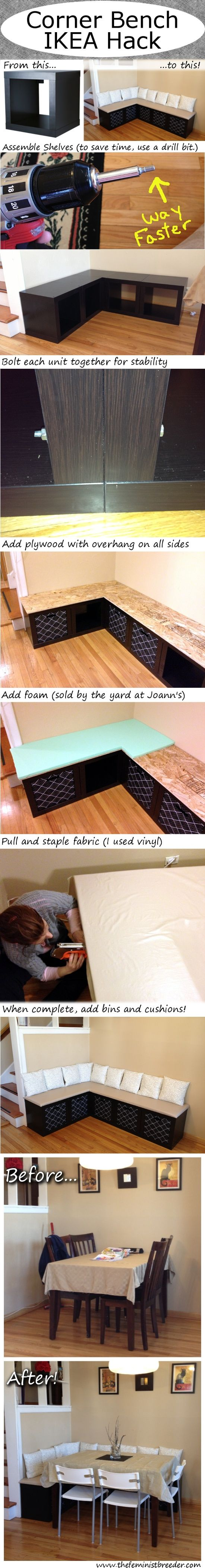 A corner bench with storage made from some IKEA wall shelves and a little upholstering. All done in less than one day
