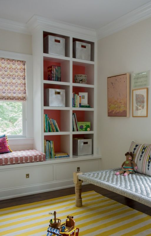 Love this detail - built in seat and shelving