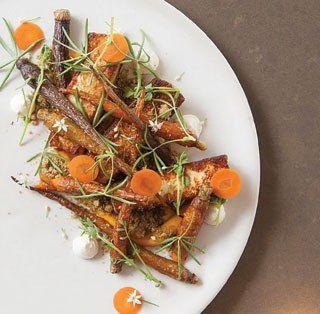 Seared buffalo haloumi, local carrots, thyme crumble