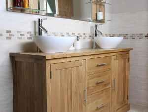Double Sink Vanity Unit with Oak Bathroom Cabinet | Finesse