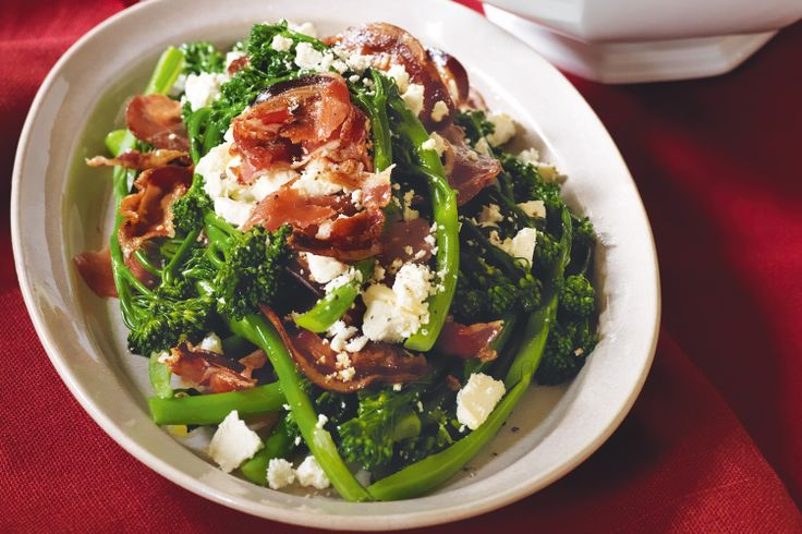 This elegant side of salty pancetta, creamy feta and crisp slender stems of broccolini is the perfect support act to any Christmas main.