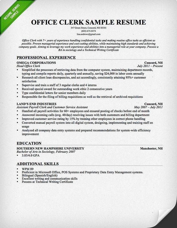 Office Clerk Resume Professional