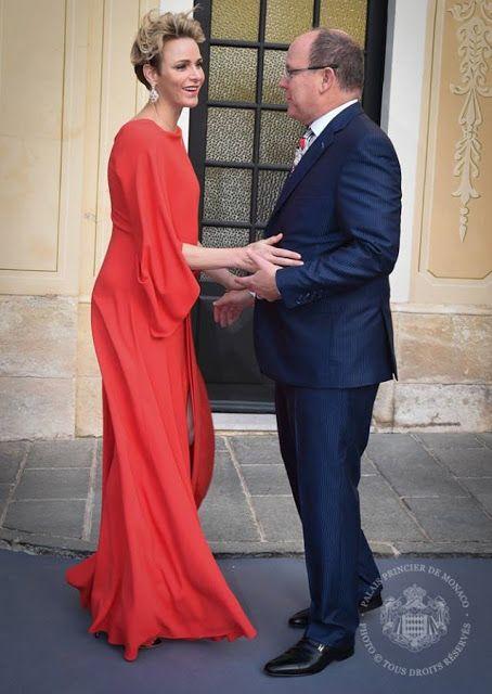 Prince Albert and Princess Charlene hosts a reception for Grand Prix