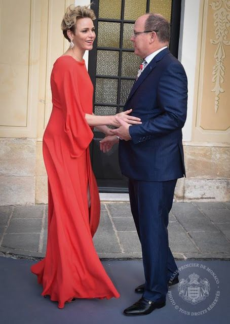 Prince Albert and Princess Charlene hosts a reception for Grand Prix