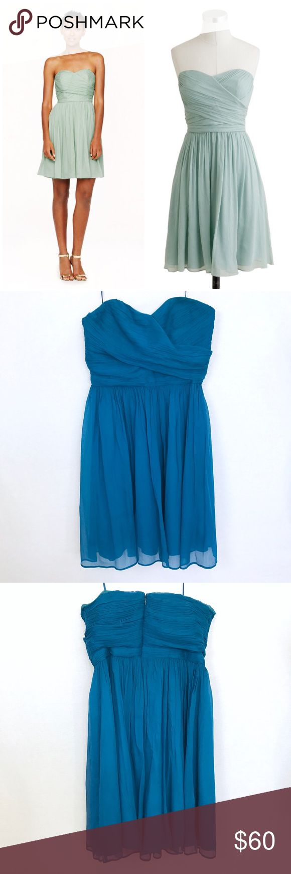 "J. Crew Arabelle Dress in Silk Chiffon Still in good condition. Cover Photo is the model & style but the color is dark teal blue. SIZE & FIT A-line silhouette. Fitted bodice with boning for added support. Falls above knee,  Lay Flat Measurement Approx; waist-13.5"". Pit to Pit-15"". Length from pit to hem-27"". No Trades. No low ball offers. Make a reasonable offer J. Crew Dresses Strapless"