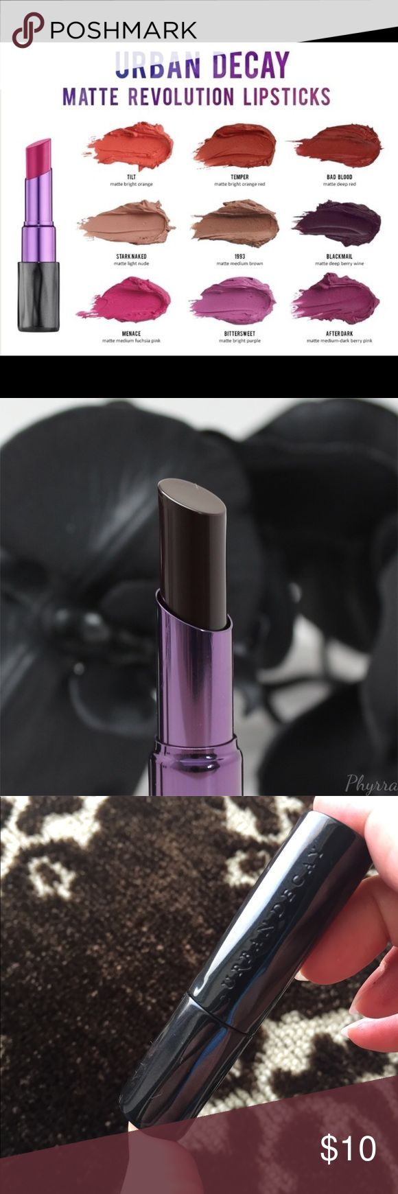 URBAN DECAY blackmail matte revolution lipstick URBAN DECAY blackmail matte revolution lipstick -the first 2 images are not mine -a beautiful dark eggplant shade -only used perhaps 2x!! -I know that can throw people off, a used lipstick, I have cut off the end that I used to a new end untouched by lips!! Urban Decay Makeup Lipstick