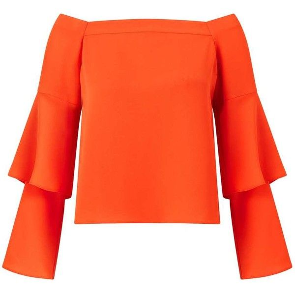 Miss Selfridge Orange Double Sleeve Bardot Top (1 630 UAH) ❤ liked on Polyvore featuring tops, red, sleeve top, red top, off shoulder tops, miss selfridge and miss selfridge tops