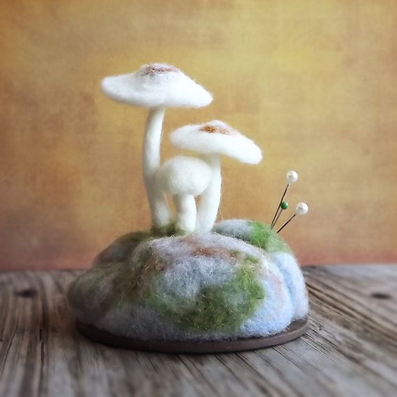 White Mushrooms on Mossy Rocks Nature Scene Pincushion Made To Order Home Decor Wool Sculpture