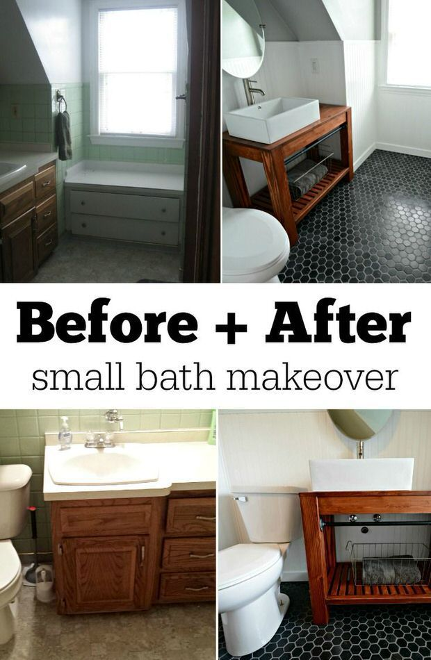 Tiny Bath Makeovers | Decorating Your Small Space ~ And for more bath makeover advice please be sure to visit our POWDER ROOM/ GUEST BATH board!