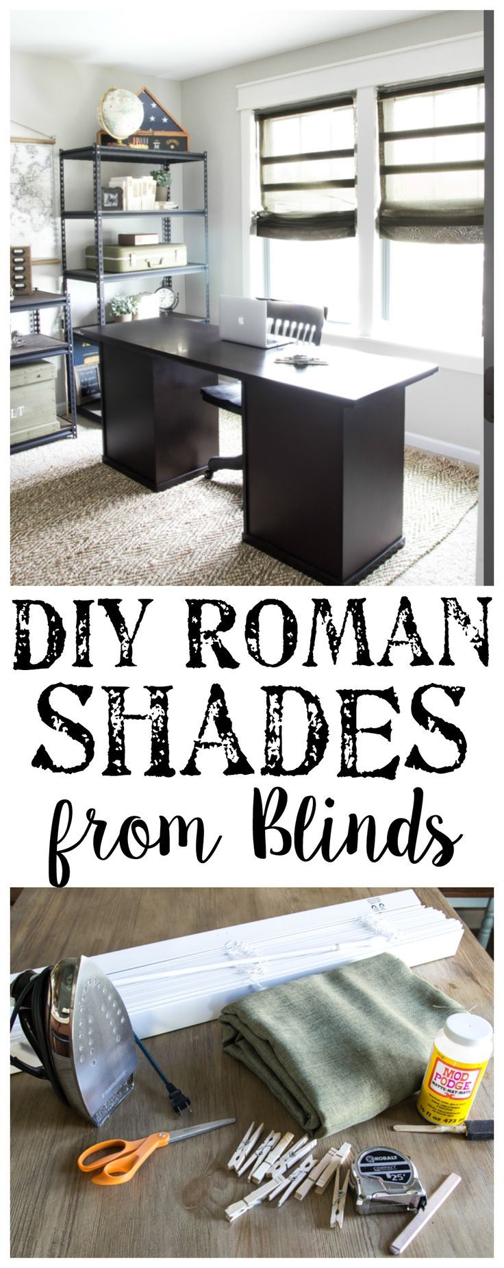DIY Burlap Roman Shades from Blinds | http://blesserhouse.com - A beautiful way to make pricey looking window shades for cheap!