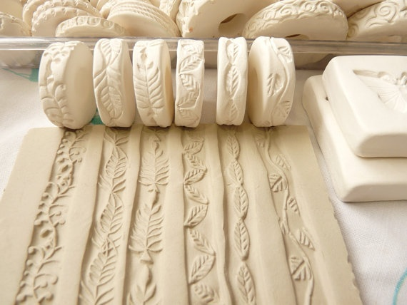 Leaf Vine Theme Clay Stamp Roller Set of Six Unique Border Garden Design Bisque Pottery Tool for Ceramic Decoration and Texture