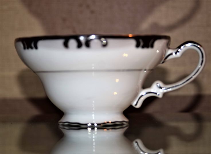 Excited to share the latest addition to my #etsy shop: Footed Cup Baronet by Gold China Japan coffee/Tea cup 2 1/4 in. http://etsy.me/2nJ4kGP #housewares #white #silver #no #danannsvintageglass