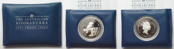 1997 Australien 1 oz silver AUSTRALIAN KOOKABURRA 1 Dollar 1997 in folder w. cert. Proof # 94521 Proof