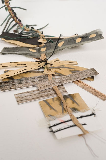 "Kay Greenlees | Textile Study Group ""Hanging Sketch"" ""Drawings, photographs and collected forms literally 'hang together' by a 'thread' that represents how I passed through a space and recorded a sense of place."""