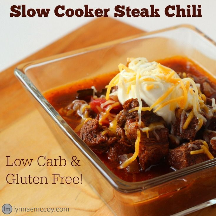 This slow cooker steak chili recipe is not only delicious, but low carb and gluten free! That makes it the perfect dish for entertaining guests with food allergies. Double the recipe and cook it up in a 7 quart crockpot. You can find one at Walmart for just $19.94! http://lynnaemccoy.com/crockpot-crockstar-contest-steak-chili-recipe/