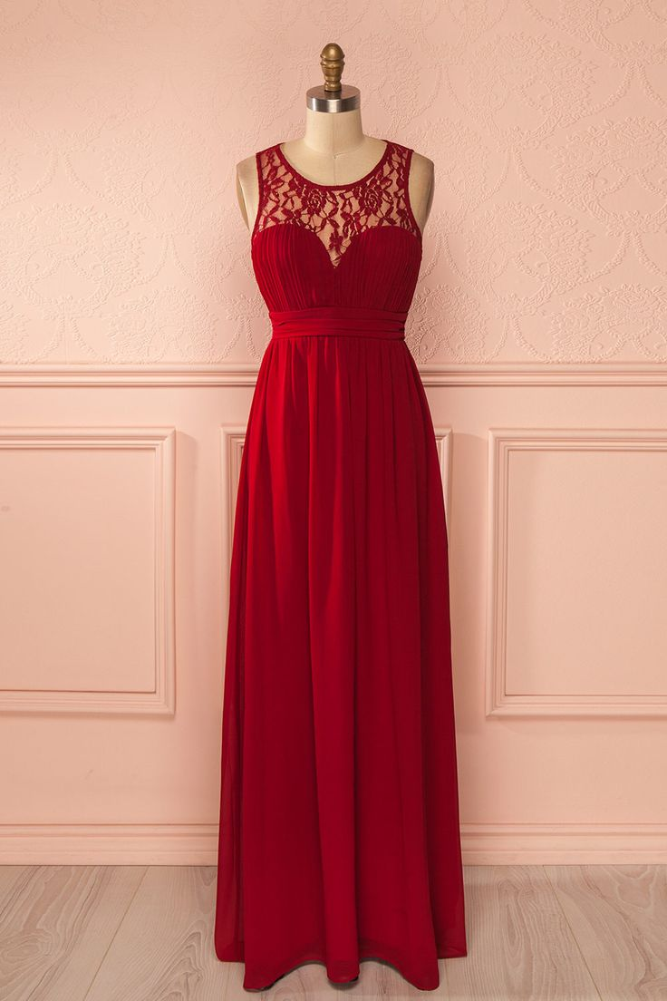 Elle s'avança fièrement vers la grande salle de bal dont elle avait toujours rêvée. She walked proudly towards the grand ballroom she had always dreamed of. Red lace neckline maxi dress www.1861.ca
