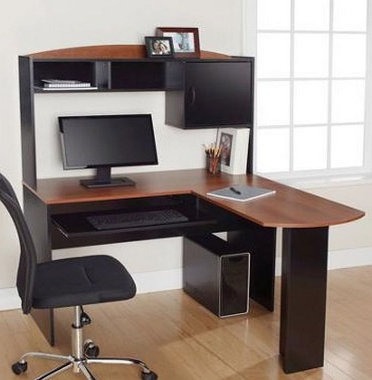 Office Computer Desk Part - 18: L-Shaped Computer Furniture Office Home Work Desk Dorm Hutch, Black U0026  Cherry New